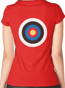 Bulls Eye, Target, Roundel, Archery, on Red Women's Fitted Scoop T-Shirt