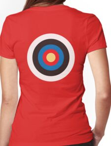 Bulls Eye, Target, Roundel, Archery, on Red Womens Fitted T-Shirt