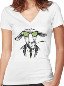 Hand Drawn Fashion Portrait of donkey Hipster  Women's Fitted V-Neck T-Shirt