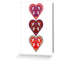 Folk Hearts Greeting Card