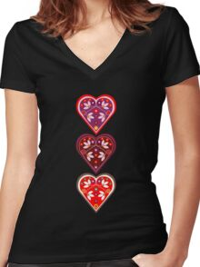 Folk Hearts Women's Fitted V-Neck T-Shirt