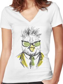 Hand Drawn Fashion Portrait of chicken Hipster Women's Fitted V-Neck T-Shirt
