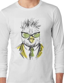 Hand Drawn Fashion Portrait of chicken Hipster Long Sleeve T-Shirt