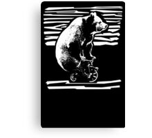 Vintage Black Bear Funny Bicycle Bear Canvas Print