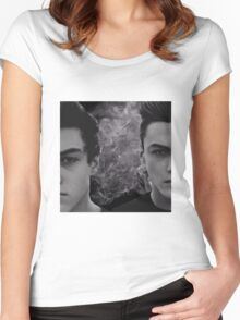 Dolan twins black and white with smoke Women's Fitted Scoop T-Shirt