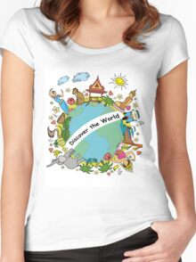 Discover the world . Set asian color icons and symbols Women's Fitted Scoop T-Shirt