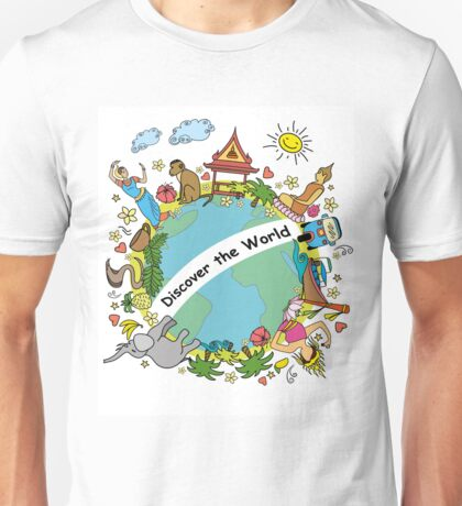 Discover the world . Set asian color icons and symbols Unisex T-Shirt