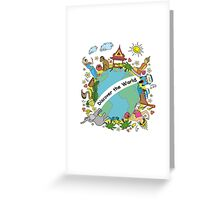 Discover the world . Set asian color icons and symbols Greeting Card