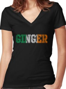 Distressed Irish Ginger St Patrick's Day Women's Fitted V-Neck T-Shirt