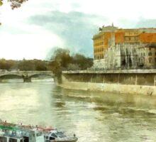 Rome: Tiber River barge and urban landscape Sticker