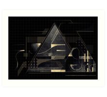 Composition of golden abstract geometry Art Print