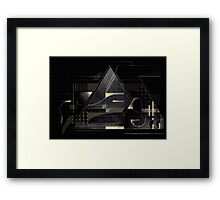 Composition of golden abstract geometry Framed Print