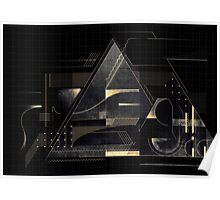 Composition of golden abstract geometry Poster