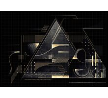 Composition of golden abstract geometry Photographic Print