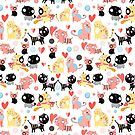 funny pattern lovers cats by Tanor