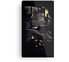 Composition of golden abstract geometry #2 Metal Print
