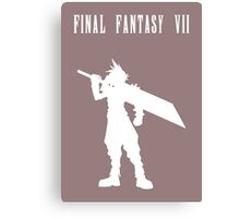 Cloud Strife Silhouette Minimal (White) - Final Fantasy VII Canvas Print