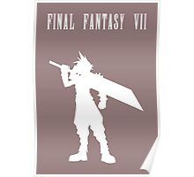 Cloud Strife Silhouette Minimal (White) - Final Fantasy VII Poster