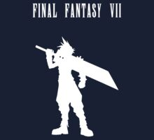Cloud Strife Silhouette Minimal (White) - Final Fantasy VII One Piece - Short Sleeve