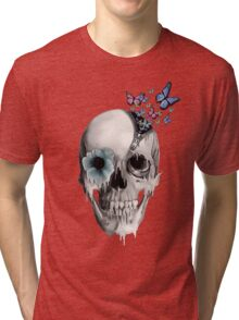 Open minded, unzipping sugar skull  Tri-blend T-Shirt