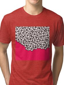 Hand Drawn Black and White Flowers on Hot Pink Tri-blend T-Shirt