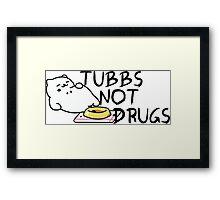 Tubbs Not Drugs - Neko Atsume (Black) Framed Print