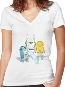 Star Wars Adventure Time Women's Fitted V-Neck T-Shirt