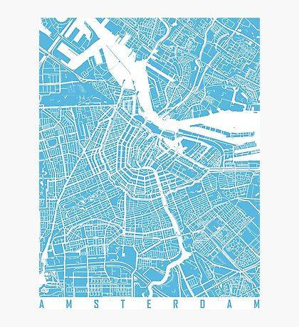 Amsterdam map blue Photographic Print