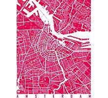 Amsterdam map raspberry Photographic Print