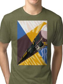 Train art deco style Southern Railway, travel South for Winter Sunshine Tri-blend T-Shirt