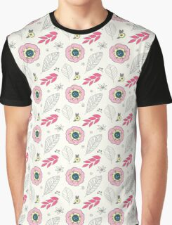 Pink Grey Retro Floral Pattern Graphic T-Shirt