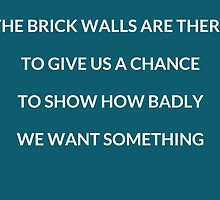 The brick walls are there to give us a chance to show how badly we want something by IdeasForArtists