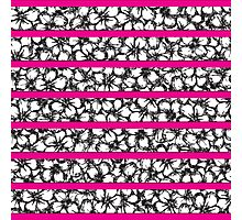 Bold Girly Hand Drawn Flowers on Neon Pink Photographic Print