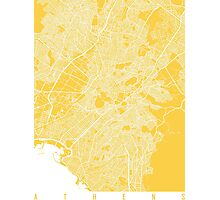 Athens map yellow Photographic Print