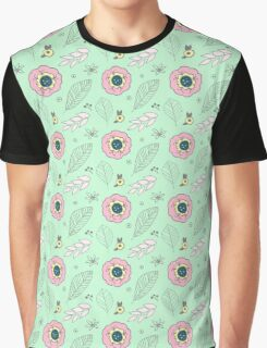 Mint Pink Spring Flowers Illustration Graphic T-Shirt