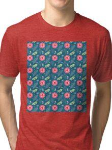 Pretty Spring Flowers Illustration Pattern Tri-blend T-Shirt
