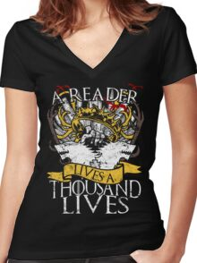 Game of Thrones - A Reader Lives A Thousand Lives Women's Fitted V-Neck T-Shirt