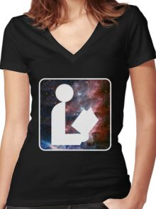 Libraries are out of this world Women's Fitted V-Neck T-Shirt