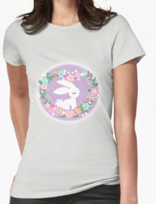 Bunny Heart Wreath Womens Fitted T-Shirt