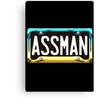 SHINY BLUE/GOLD LICENSE PLATE HOLDER WITH BLACK PLATE - assman Canvas Print