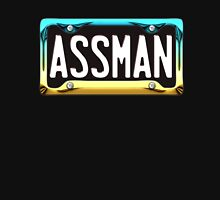 SHINY BLUE/GOLD LICENSE PLATE HOLDER WITH BLACK PLATE - assman Unisex T-Shirt