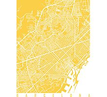 Barcelona map yellow Photographic Print