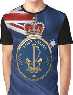 Royal Australian Navy - RAN Badge over Australian Flag Graphic T-Shirt