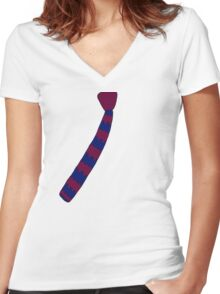 Hipster Knitted Tie Women's Fitted V-Neck T-Shirt