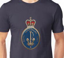 Royal Australian Navy - RAN Badge over Blue Velvet Unisex T-Shirt
