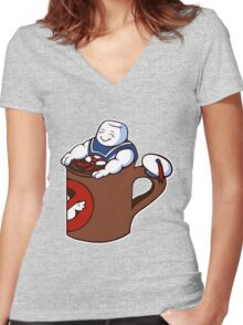 Cup of Stay Puft Women's Fitted V-Neck T-Shirt