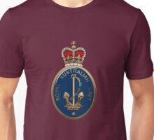Royal Australian Navy - RAN Badge over Red Velvet Unisex T-Shirt