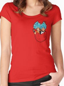 Goku and Vegeta god pocket. Women's Fitted Scoop T-Shirt