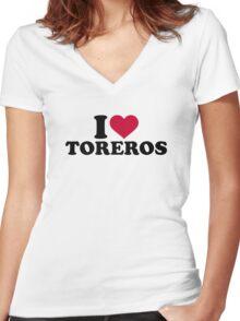 I love Toreros Women's Fitted V-Neck T-Shirt