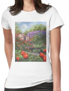 Garden with Tulips and Wisteria Womens Fitted T-Shirt